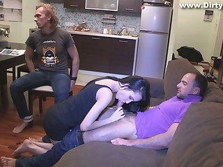 Slutty girlfriend Rosa Mentoni is fucked in front of tied up cuckold boyfriend