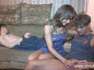 Sophomore student Jessy Nikea tied up her boyfriend and makes him cuckold