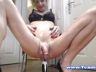 Steamy Tranny on Wet and Raunchy Rear End Toying