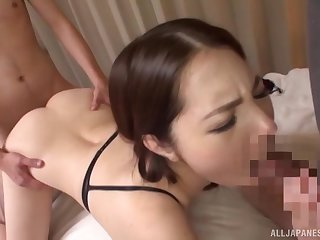 Japanese beauty loves it hardcore from behind