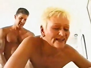 Mature Brit Grandmother brief towheaded hair Gets Romped by 2 Junior Folks- wtk
