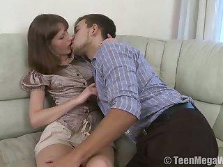 Charming nextdoor girl Juliya B allows to cum inside her tight teen pussy