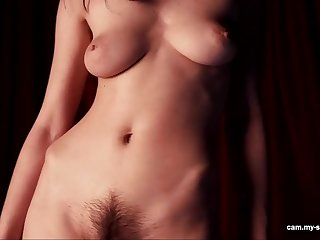 busty and hairy brunette with natural tits teasing in solo erotic video