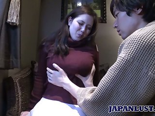 Japanese chubby chick Mina Sasaki shows her creampied Asian muff