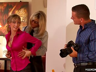 Naughty sluts crazy pissing threesome porn video