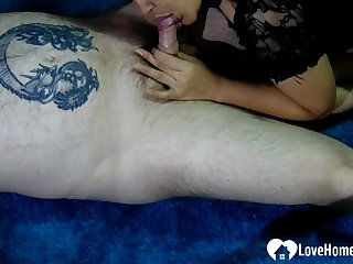 Beauty helps a tattooed lad with a flashlight