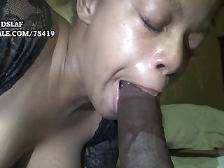 Busty ebony mom sucking and deepthroating BBC for cum load