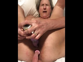 60 Year old Granny mature Matur Ass Sex Dildo Play Tied up getting Ready to Hump