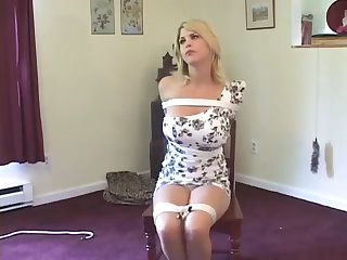 Tied amateur Blonde at homemade video