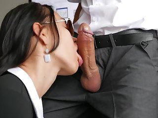 Secretary in nylon stockings teases thick veiny cock