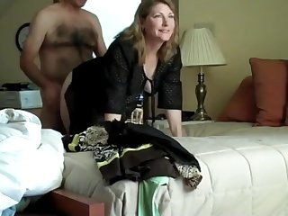 Secretary cheating husband with her boss on business trip