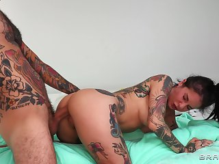 Deep anal for the tattooed wife in a sensual POV