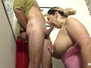 Luscious fat mature Sucking Cock