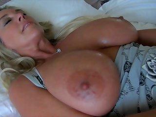 Busty blonde mature mom in homemade handjob with masturbation