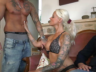 German Cuckold Milf laughed so much when she saw her husband's face