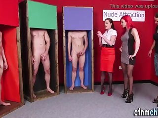 Glam clad dominatrixes tug