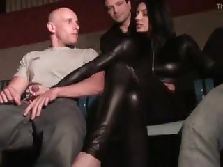 Wild Sofia boned in a theater apartment by trio insane mens