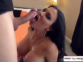 Jasmine knows how to keep her boy downright sated, and get a lovely facial cumshot jizz flow