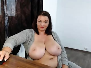 Drunk fat nerdy with big boobs showing off on webcam